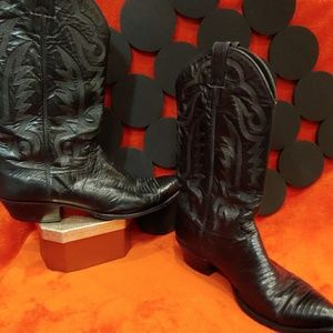 Justin Boots Black Lizard and Leather size 11.5